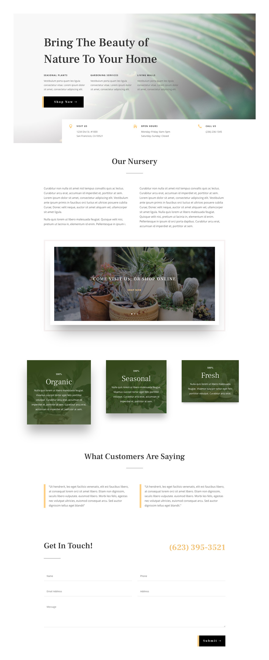 Plant Nursery Website Design